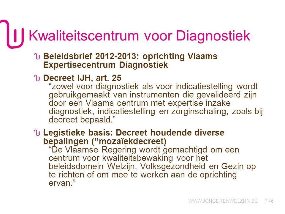 WWW.JONGERENWELZIJN.BE P Kwaliteitscentrum voor Diagnostiek Beleidsbrief 2012-2013: oprichting Vlaams Expertisecentrum Diagnostiek Decreet IJH, art. 2