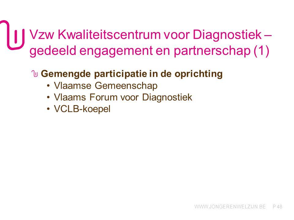 WWW.JONGERENWELZIJN.BE P Vzw Kwaliteitscentrum voor Diagnostiek – gedeeld engagement en partnerschap (1) Gemengde participatie in de oprichting •Vlaamse Gemeenschap •Vlaams Forum voor Diagnostiek •VCLB-koepel 48