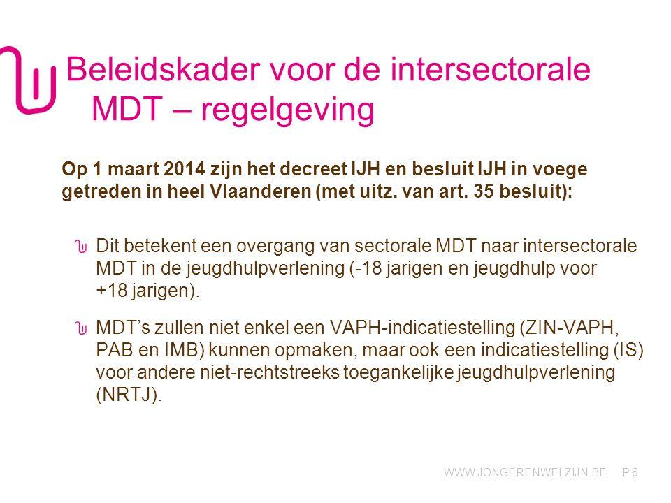 WWW.JONGERENWELZIJN.BE P Beleidskader voor de intersectorale MDT – regelgeving Op 1 maart 2014 zijn het decreet IJH en besluit IJH in voege getreden in heel Vlaanderen (met uitz.