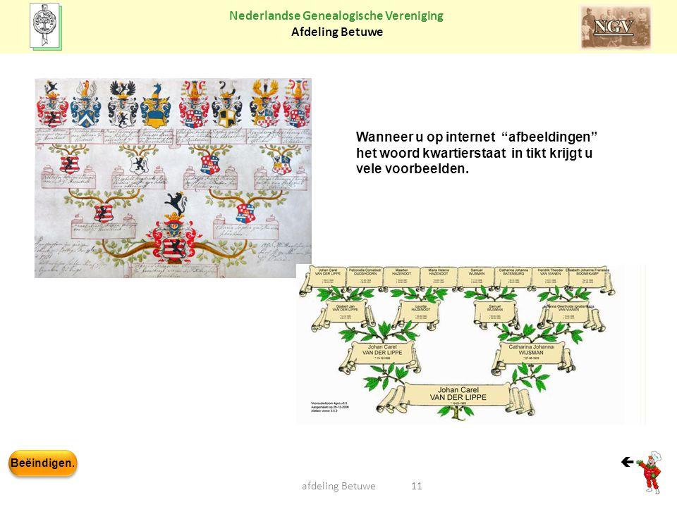 """Beëindigen. Nederlandse Genealogische Vereniging Afdeling Betuwe afdeling Betuwe11  Wanneer u op internet """"afbeeldingen"""" het woord kwartierstaat in t"""