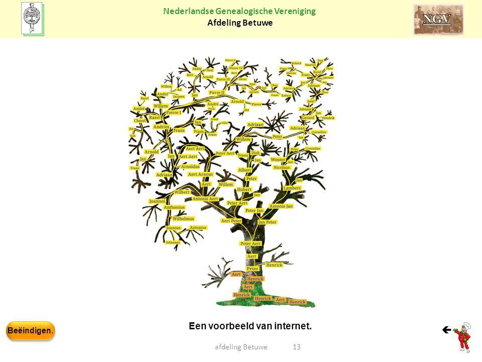 Beëindigen. Nederlandse Genealogische Vereniging Afdeling Betuwe afdeling Betuwe13  Een voorbeeld van internet.