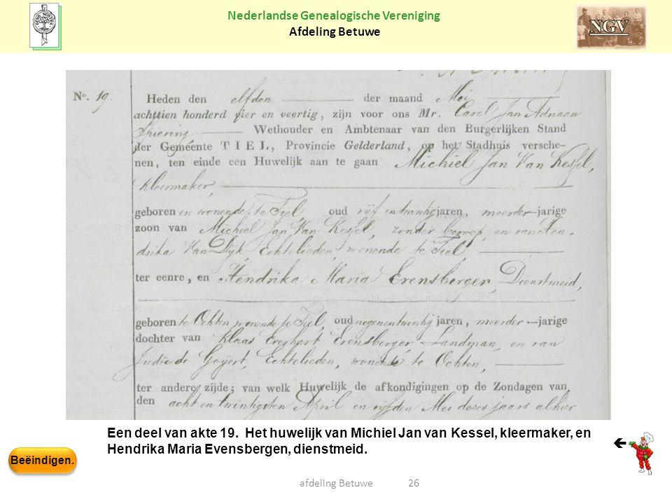 Beëindigen. Nederlandse Genealogische Vereniging Afdeling Betuwe 26afdeling Betuwe Een deel van akte 19. Het huwelijk van Michiel Jan van Kessel, klee