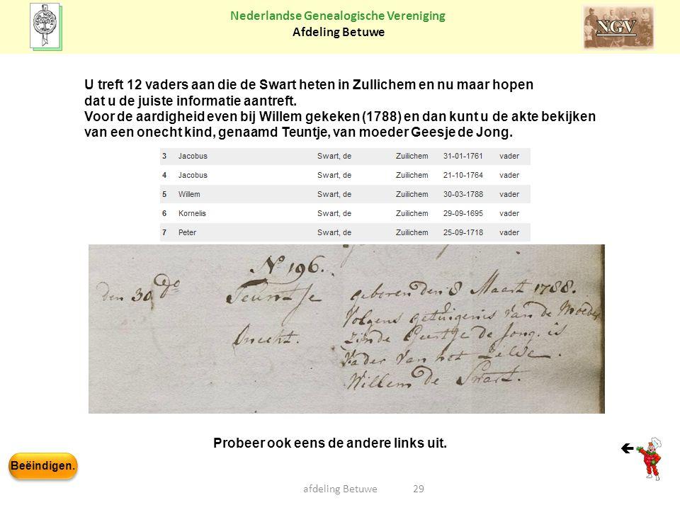 Beëindigen. Nederlandse Genealogische Vereniging Afdeling Betuwe afdeling Betuwe29  U treft 12 vaders aan die de Swart heten in Zullichem en nu maar