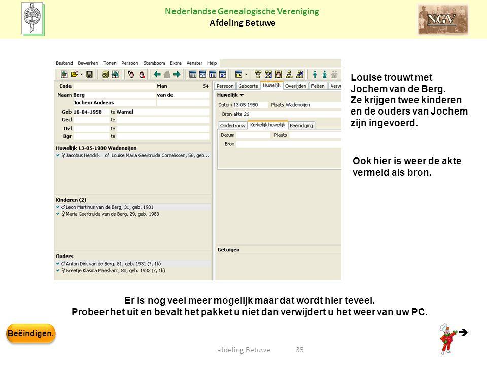 Beëindigen. Nederlandse Genealogische Vereniging Afdeling Betuwe afdeling Betuwe35 Louise trouwt met Jochem van de Berg. Ze krijgen twee kinderen en d