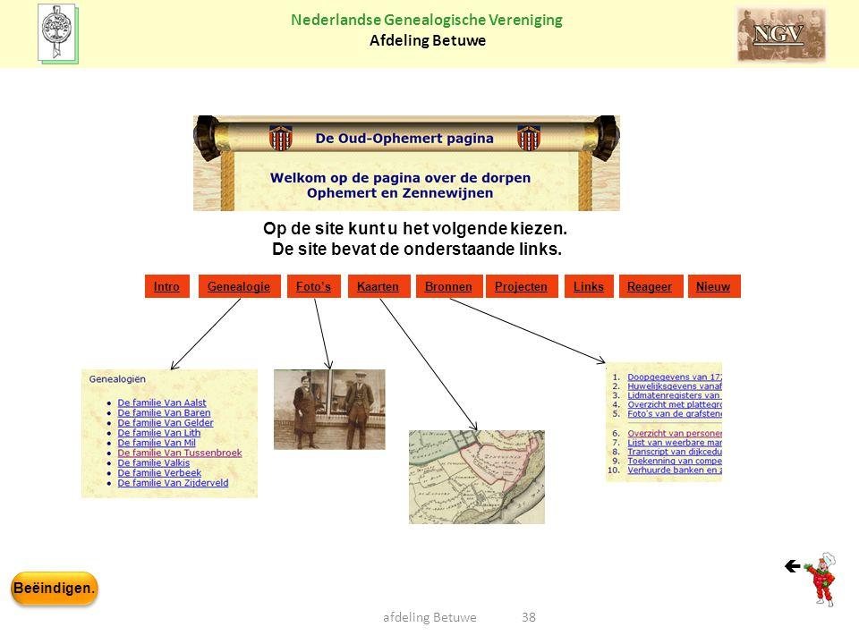 Beëindigen. Nederlandse Genealogische Vereniging Afdeling Betuwe 38afdeling Betuwe IntroGenealogieFoto'sKaartenBronnenProjecten Links ReageerNieuw Op