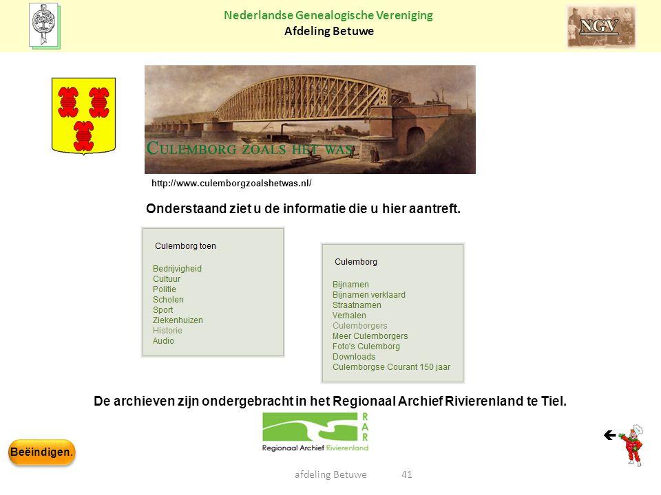Beëindigen. Nederlandse Genealogische Vereniging Afdeling Betuwe afdeling Betuwe41 De archieven zijn ondergebracht in het Regionaal Archief Rivierenla