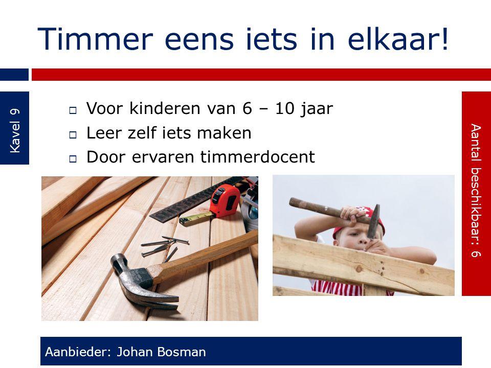 Timmer eens iets in elkaar! Kavel 9  Voor kinderen van 6 – 10 jaar  Leer zelf iets maken  Door ervaren timmerdocent Aanbieder: Johan Bosman Aantal