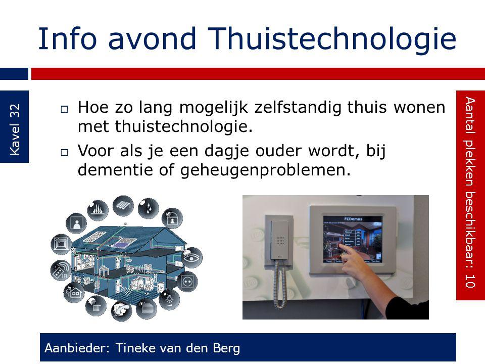 Info avond Thuistechnologie Kavel 32  Hoe zo lang mogelijk zelfstandig thuis wonen met thuistechnologie.  Voor als je een dagje ouder wordt, bij dem