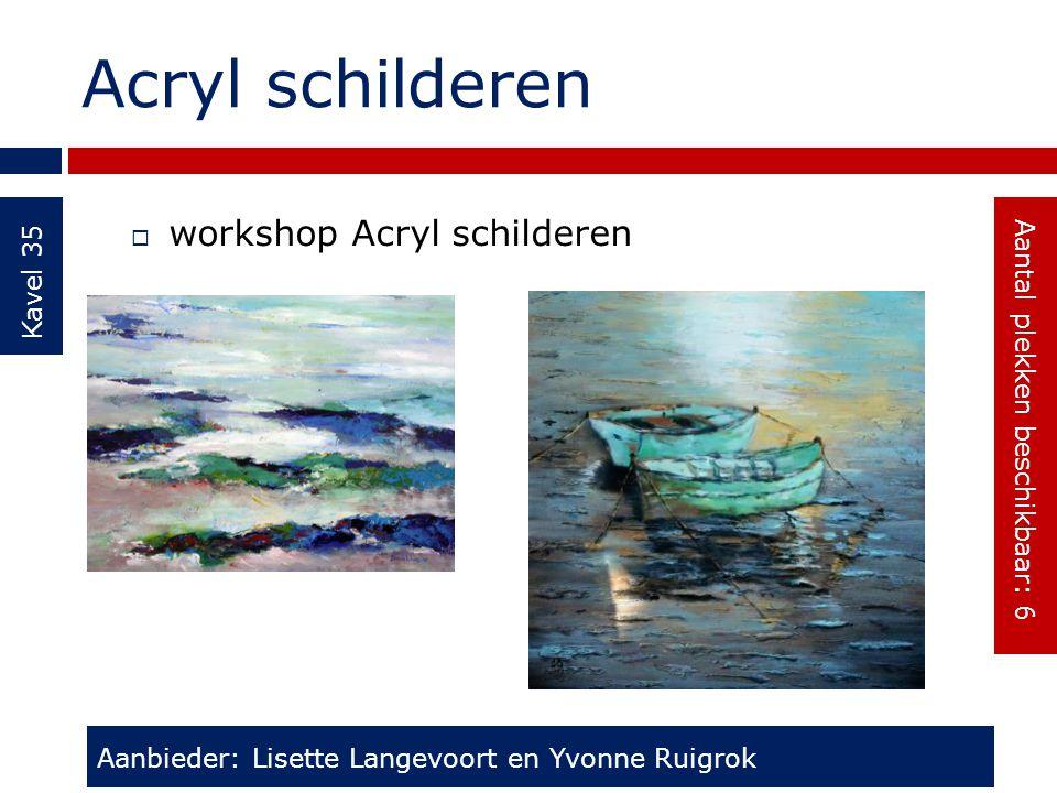 Acryl schilderen Kavel 35  workshop Acryl schilderen Aanbieder: Lisette Langevoort en Yvonne Ruigrok Aantal plekken beschikbaar: 6