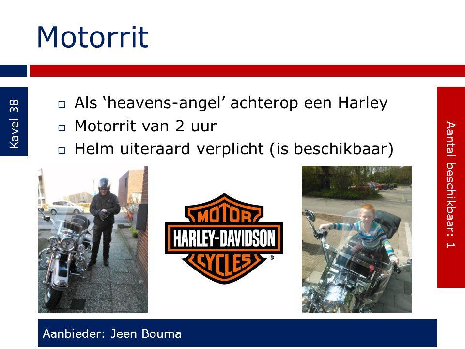 Motorrit Kavel 38  Als 'heavens-angel' achterop een Harley  Motorrit van 2 uur  Helm uiteraard verplicht (is beschikbaar) Aanbieder: Jeen Bouma Aan