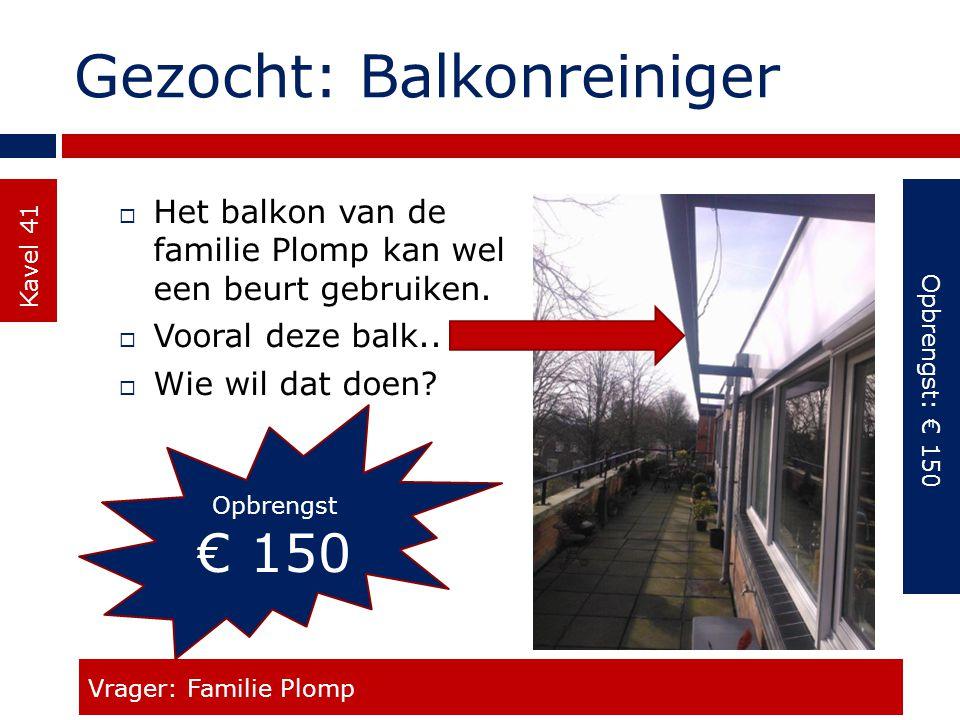 Gezocht: Balkonreiniger Kavel 41  Het balkon van de familie Plomp kan wel een beurt gebruiken.  Vooral deze balk..  Wie wil dat doen? Vrager: Famil