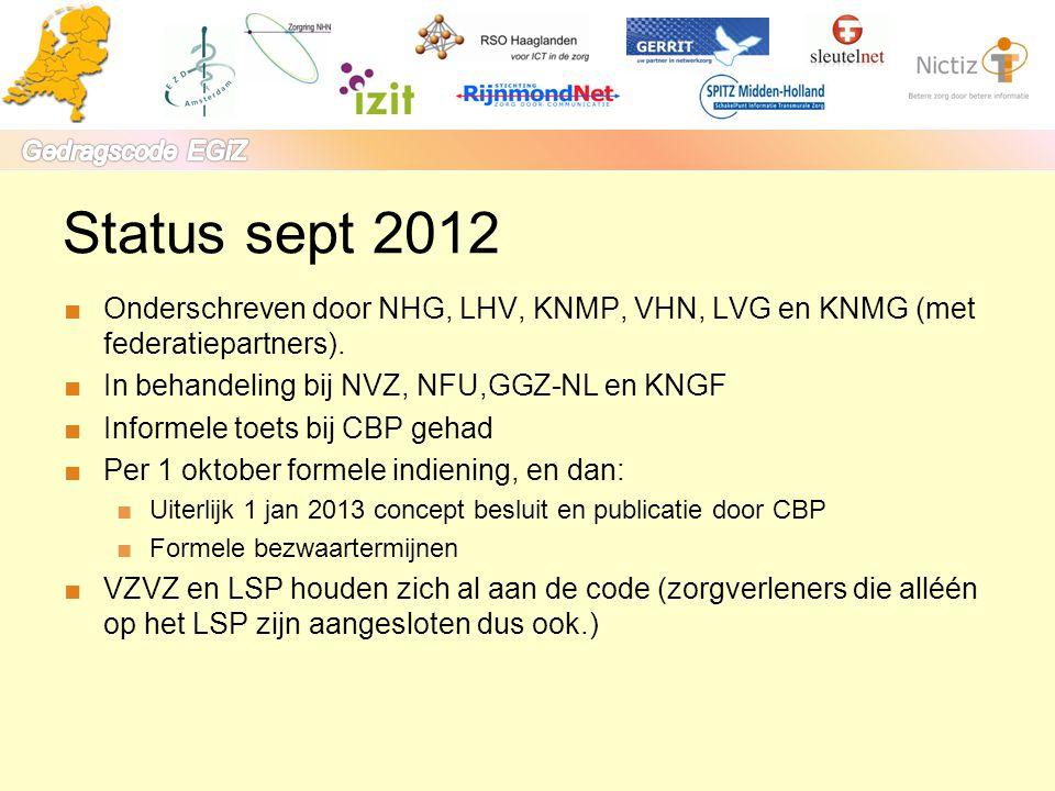 Status sept 2012 ■Onderschreven door NHG, LHV, KNMP, VHN, LVG en KNMG (met federatiepartners). ■In behandeling bij NVZ, NFU,GGZ-NL en KNGF ■Informele