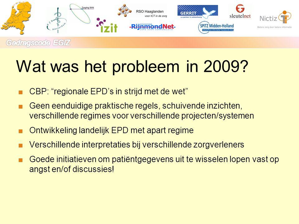 """Wat was het probleem in 2009? ■CBP: """"regionale EPD's in strijd met de wet"""" ■Geen eenduidige praktische regels, schuivende inzichten, verschillende reg"""