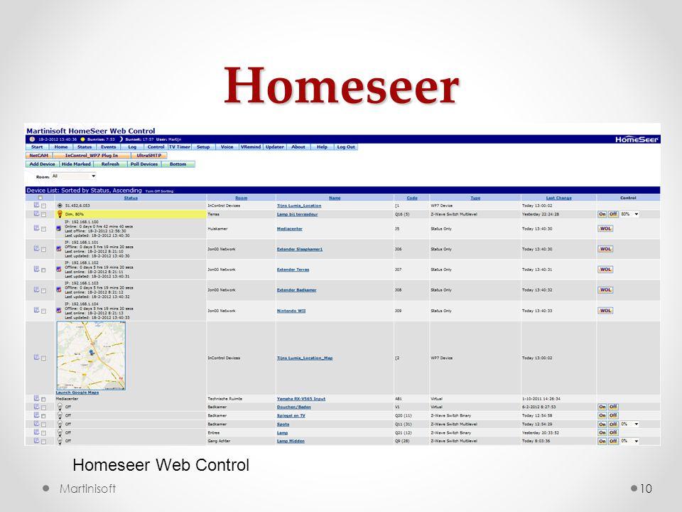 Homeseer 10Martinisoft Homeseer Web Control