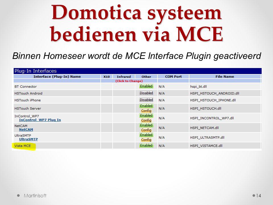 Domotica systeem bedienen via MCE 14Martinisoft Binnen Homeseer wordt de MCE Interface Plugin geactiveerd