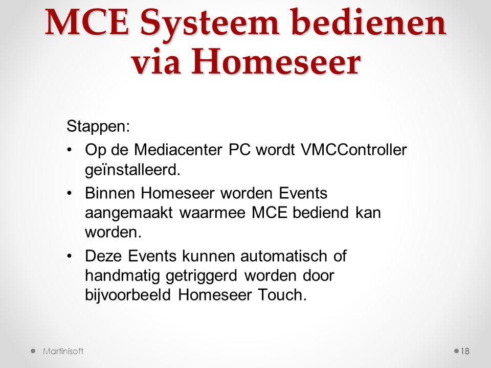 MCE Systeem bedienen via Homeseer 18 Stappen: •Op de Mediacenter PC wordt VMCController geïnstalleerd.