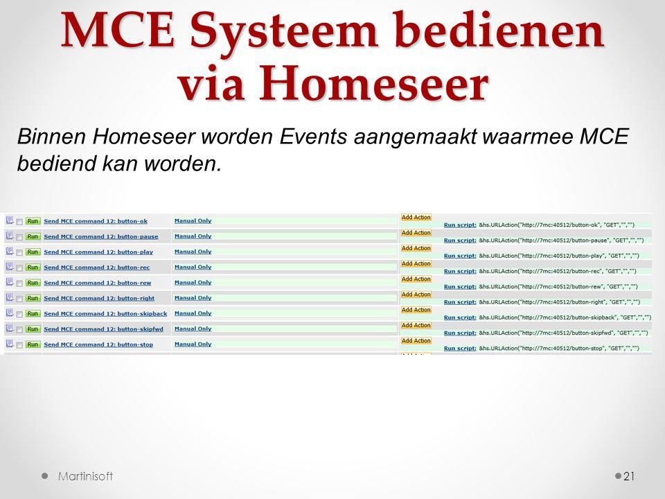 MCE Systeem bedienen via Homeseer 21 Binnen Homeseer worden Events aangemaakt waarmee MCE bediend kan worden.