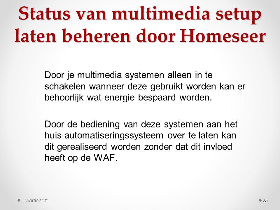Status van multimedia setup laten beheren door Homeseer 25 Door je multimedia systemen alleen in te schakelen wanneer deze gebruikt worden kan er behoorlijk wat energie bespaard worden.