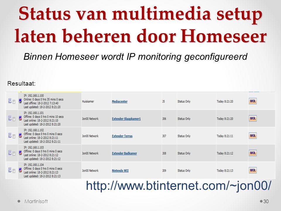 30Martinisoft http://www.btinternet.com/~jon00/ Status van multimedia setup laten beheren door Homeseer Resultaat: Binnen Homeseer wordt IP monitoring geconfigureerd