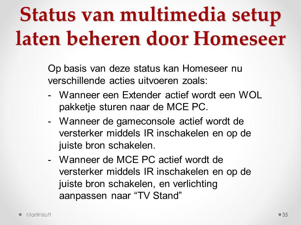 35 Op basis van deze status kan Homeseer nu verschillende acties uitvoeren zoals: -Wanneer een Extender actief wordt een WOL pakketje sturen naar de MCE PC.