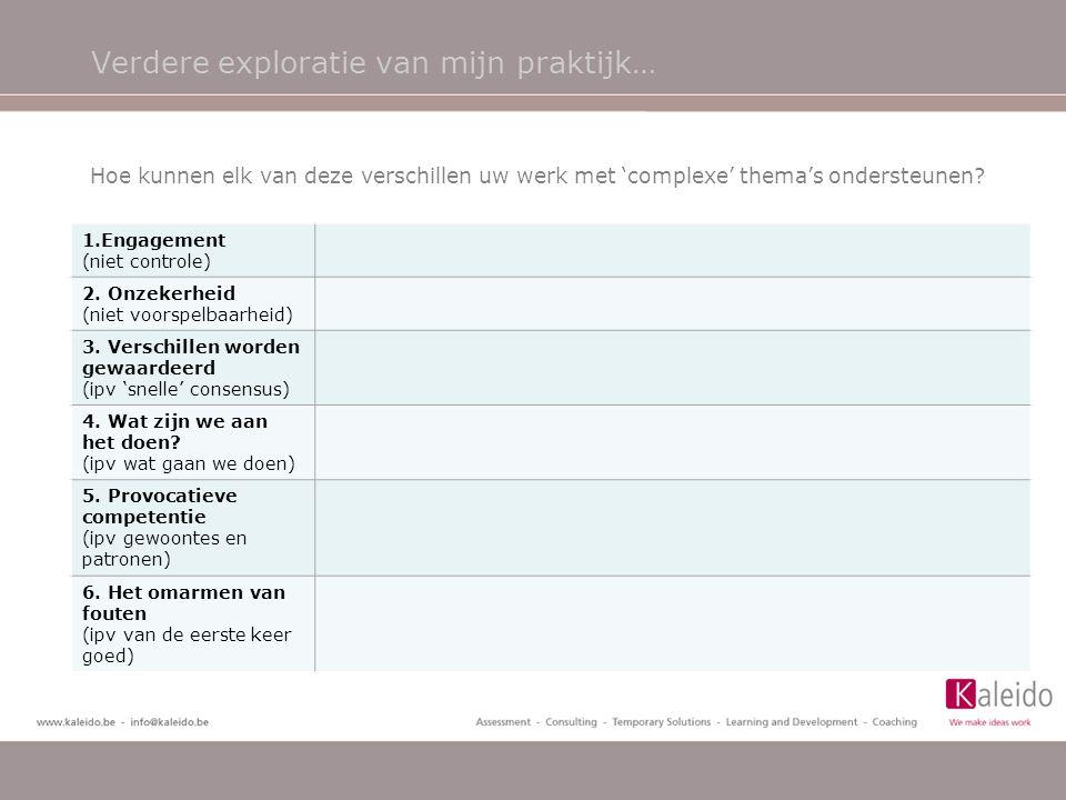 Verdere exploratie van mijn praktijk… 1.Engagement (niet controle) 2. Onzekerheid (niet voorspelbaarheid) 3. Verschillen worden gewaardeerd (ipv 'snel