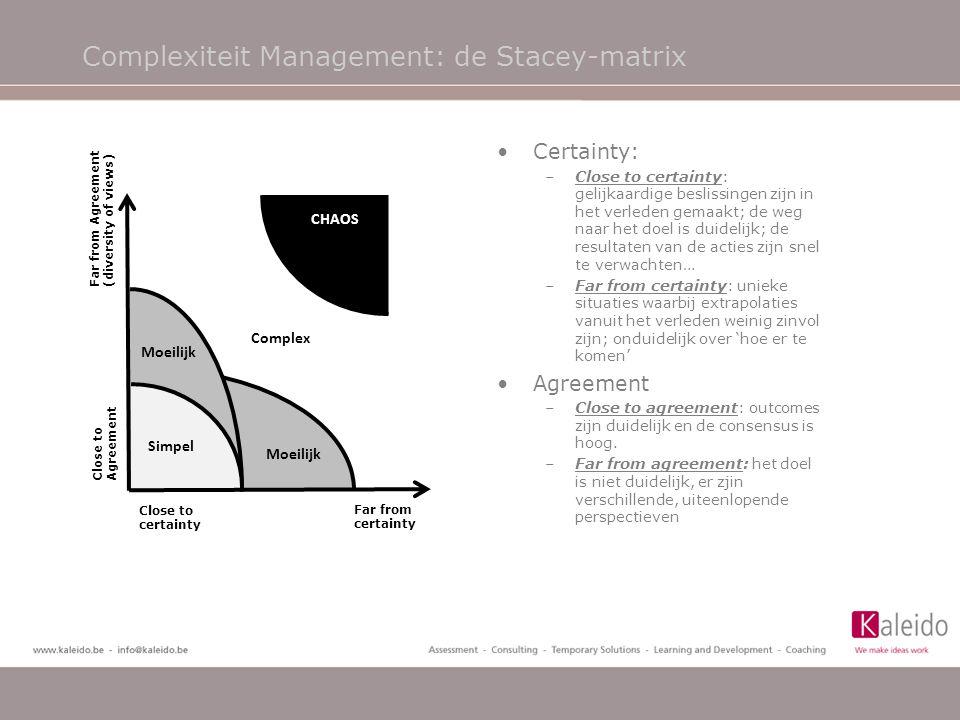 Complexiteit Management: de Stacey-matrix •Certainty: –Close to certainty: gelijkaardige beslissingen zijn in het verleden gemaakt; de weg naar het do