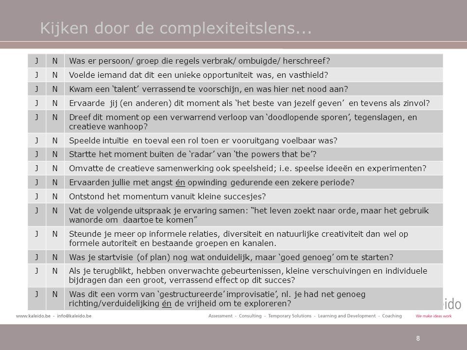 Kijken door de complexiteitslens… •Hoe kunnen we deze condities/opportuniteit recreëren als we bezig zijn.