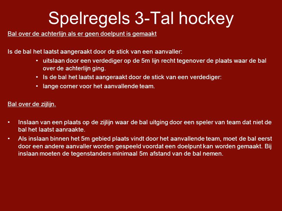 Spelregels 3-Tal hockey Bal over de achterlijn als er geen doelpunt is gemaakt Is de bal het laatst aangeraakt door de stick van een aanvaller: •uitslaan door een verdediger op de 5m lijn recht tegenover de plaats waar de bal over de achterlijn ging.