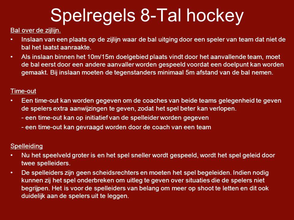 Spelregels 8-Tal hockey Bal over de zijlijn.