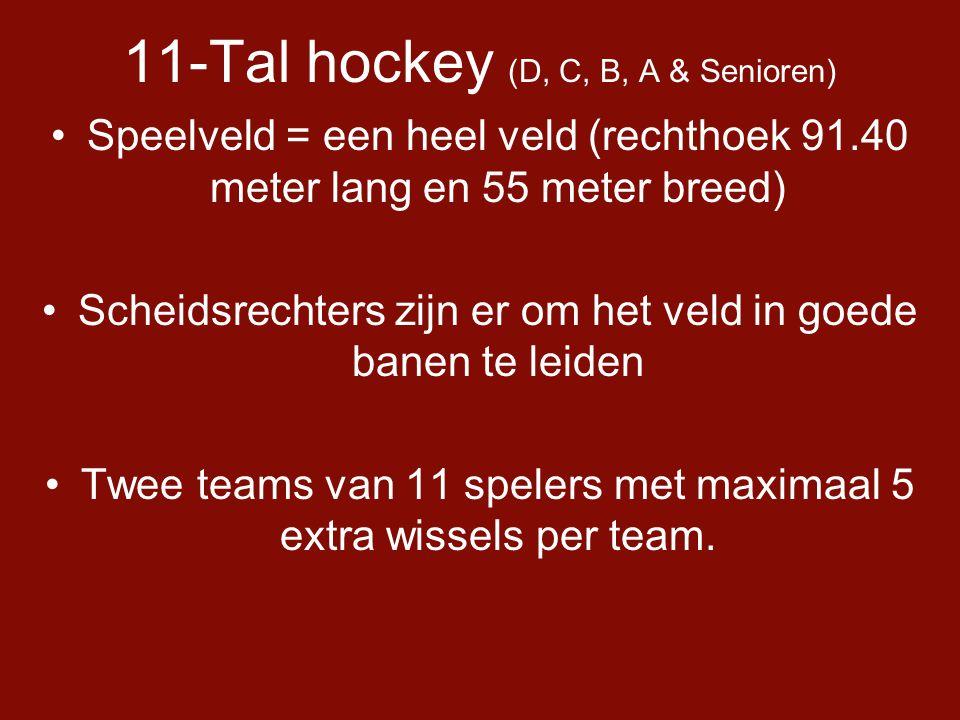 11-Tal hockey (D, C, B, A & Senioren) •Speelveld = een heel veld (rechthoek 91.40 meter lang en 55 meter breed) •Scheidsrechters zijn er om het veld in goede banen te leiden •Twee teams van 11 spelers met maximaal 5 extra wissels per team.