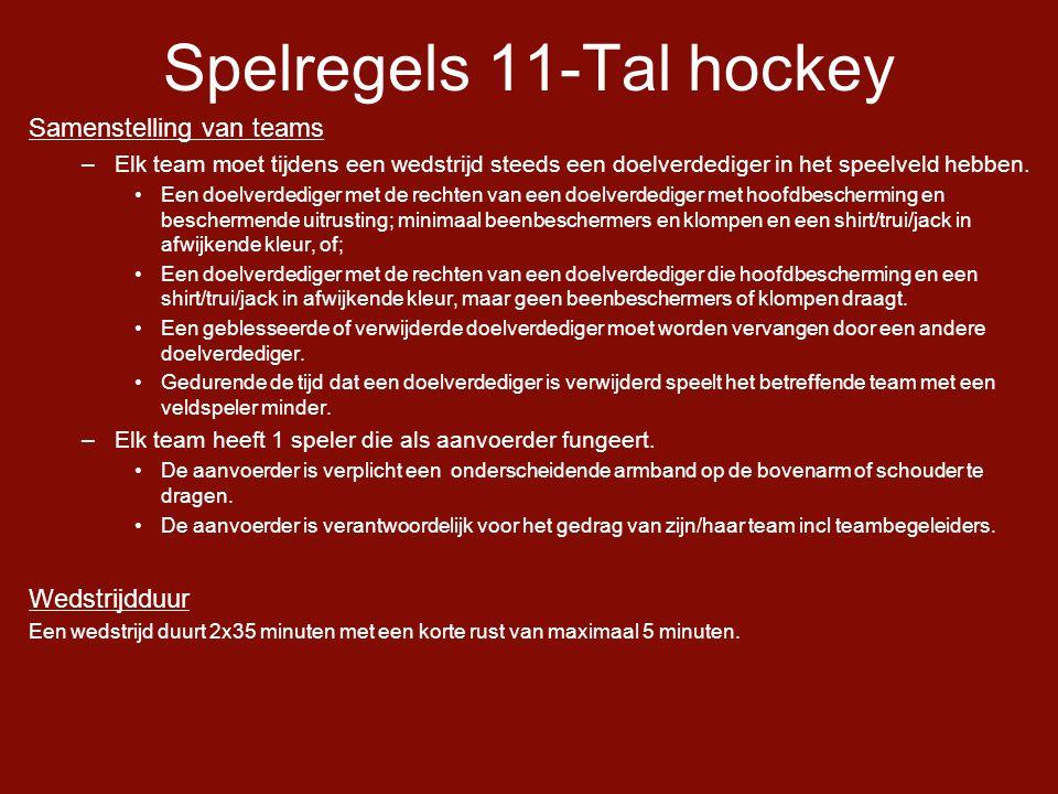 Spelregels 11-Tal hockey Samenstelling van teams –Elk team moet tijdens een wedstrijd steeds een doelverdediger in het speelveld hebben.