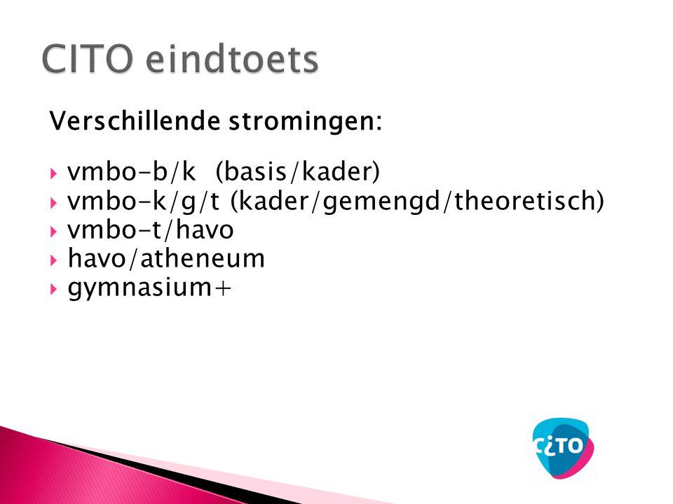 Verschillende stromingen:  vmbo-b/k (basis/kader)  vmbo-k/g/t (kader/gemengd/theoretisch)  vmbo-t/havo  havo/atheneum  gymnasium+