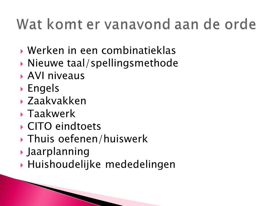  Werken in een combinatieklas  Nieuwe taal/spellingsmethode  AVI niveaus  Engels  Zaakvakken  Taakwerk  CITO eindtoets  Thuis oefenen/huiswerk