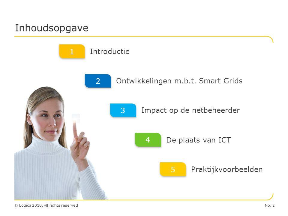 No. 2© Logica 2010. All rights reserved Inhoudsopgave Introductie Ontwikkelingen m.b.t. Smart Grids Impact op de netbeheerder De plaats van ICT 4 4 1