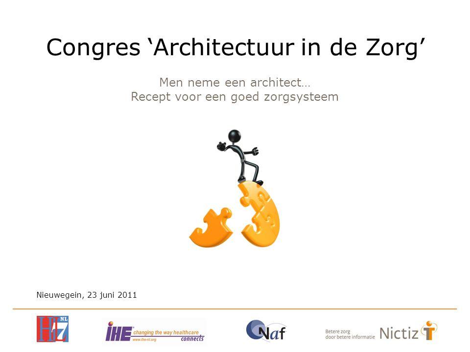 Men neme een architect… Recept voor een goed zorgsysteem Nieuwegein, 23 juni 2011 Congres 'Architectuur in de Zorg'