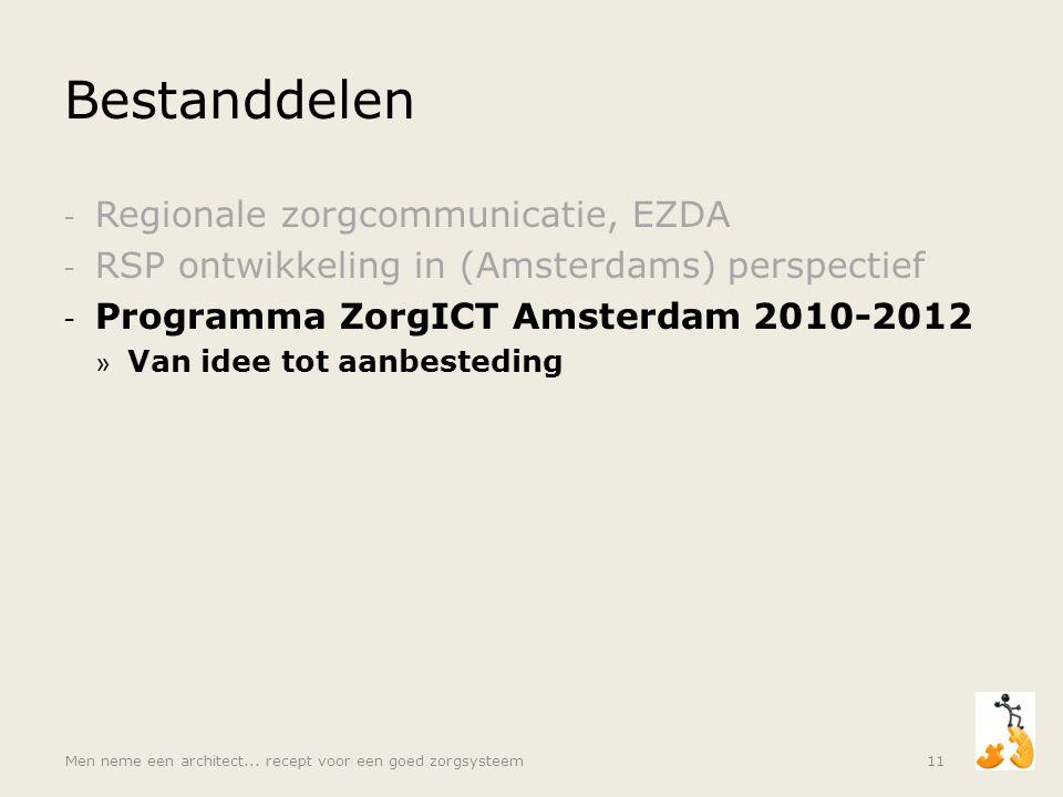 Bestanddelen - Regionale zorgcommunicatie, EZDA - RSP ontwikkeling in (Amsterdams) perspectief - Programma ZorgICT Amsterdam 2010-2012 » Van idee tot