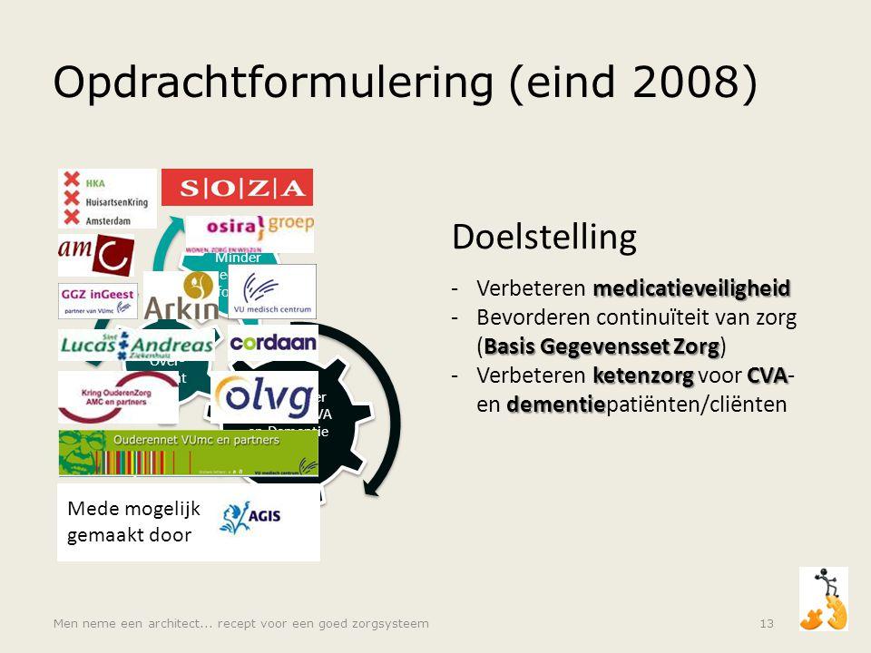 Men neme een architect... recept voor een goed zorgsysteem13 Opdrachtformulering (eind 2008) Doelmatiger zorg voor CVA en Dementie patiënten Betere Ov