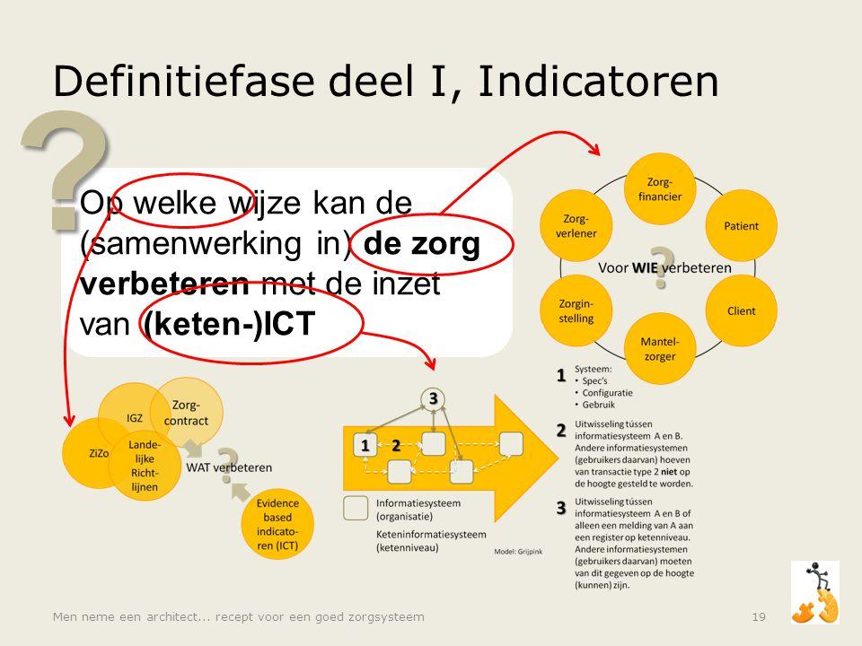 Op welke wijze kan de (samenwerking in) de zorg verbeteren met de inzet van (keten-)ICT ? Definitiefase deel I, Indicatoren Men neme een architect...