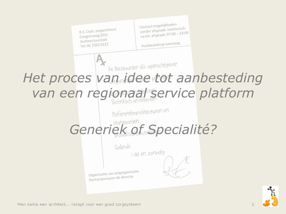 Het proces van idee tot aanbesteding van een regionaal service platform Generiek of Specialité? Men neme een architect... recept voor een goed zorgsys