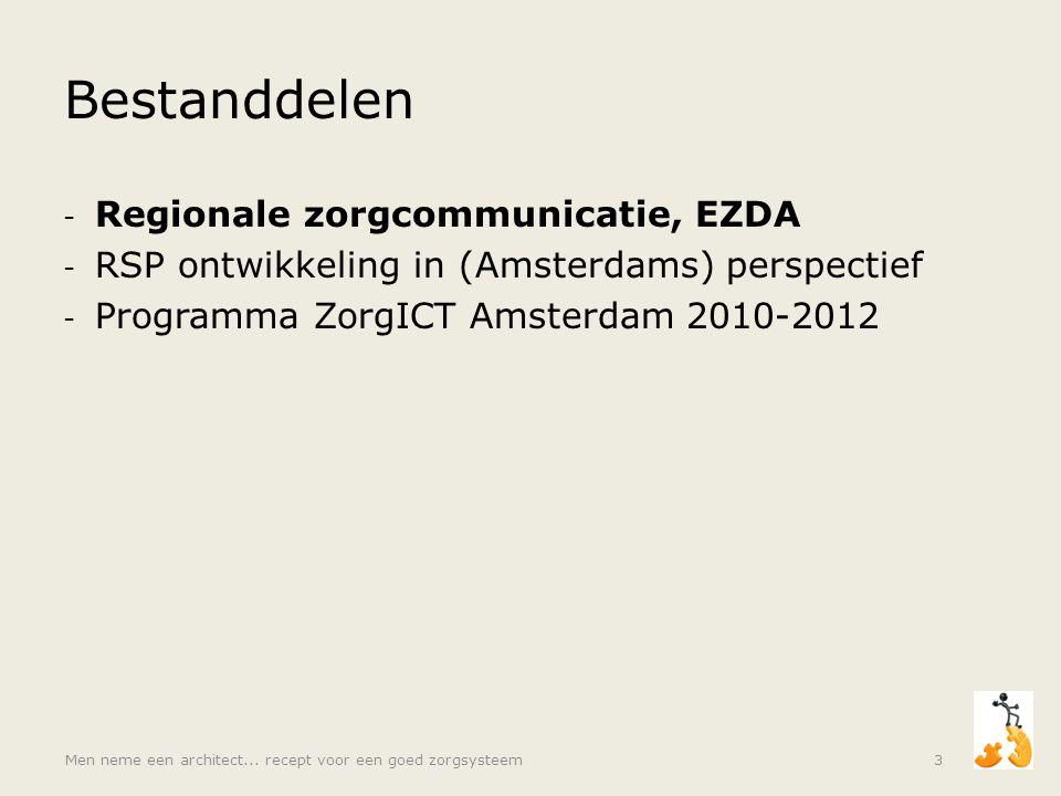 Bestanddelen - Regionale zorgcommunicatie, EZDA - RSP ontwikkeling in (Amsterdams) perspectief - Programma ZorgICT Amsterdam 2010-2012 Men neme een ar