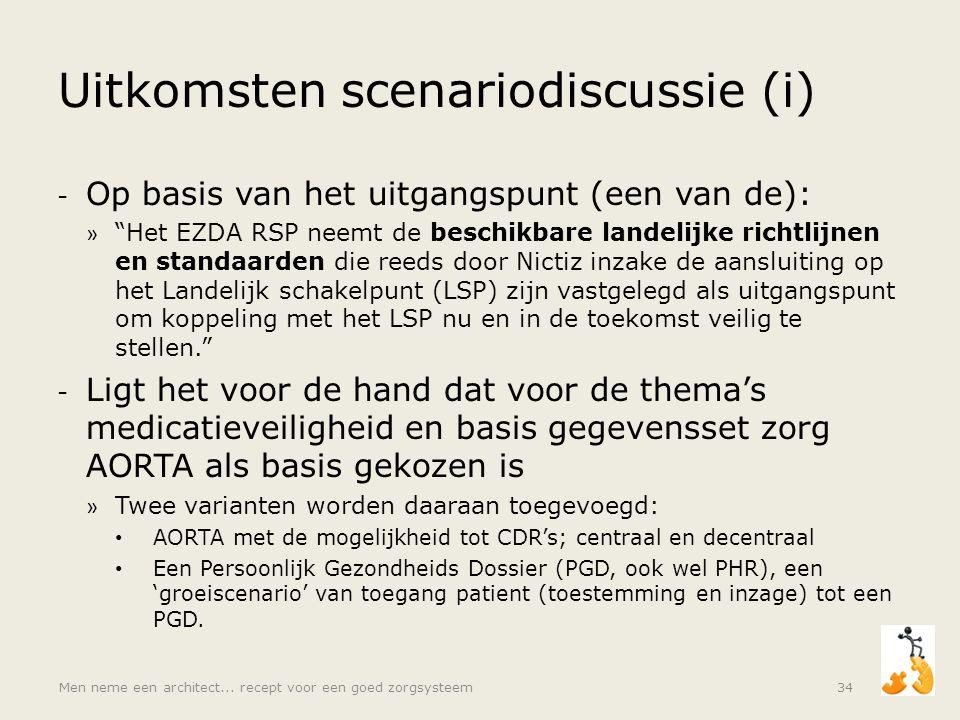 """Uitkomsten scenariodiscussie (i) - Op basis van het uitgangspunt (een van de): » """"Het EZDA RSP neemt de beschikbare landelijke richtlijnen en standaar"""
