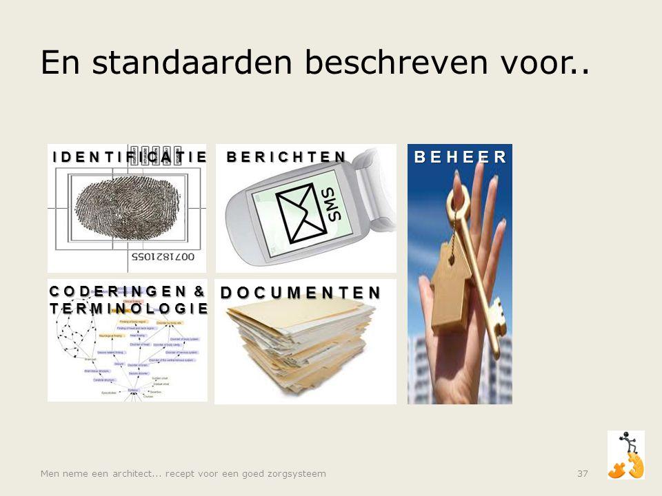 En standaarden beschreven voor.. Men neme een architect... recept voor een goed zorgsysteem37 I D E N T I F I C A T I E B E R I C H T E N C O D E R I