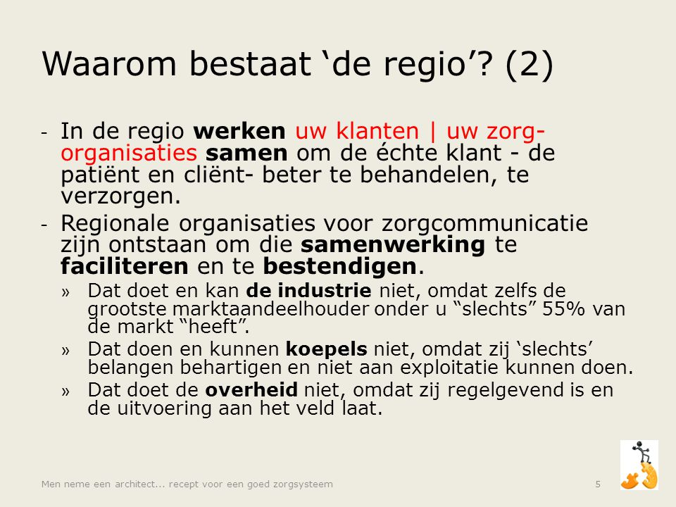 Waarom bestaat 'de regio'? (2) - In de regio werken uw klanten | uw zorg- organisaties samen om de échte klant - de patiënt en cliënt- beter te behand