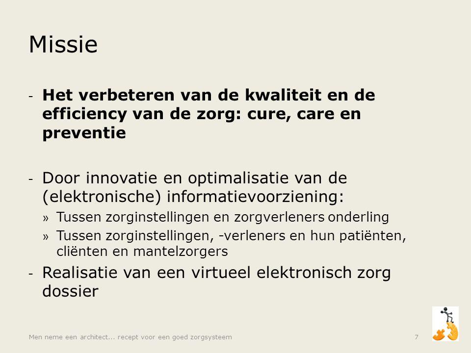 Missie - Het verbeteren van de kwaliteit en de efficiency van de zorg: cure, care en preventie - Door innovatie en optimalisatie van de (elektronische