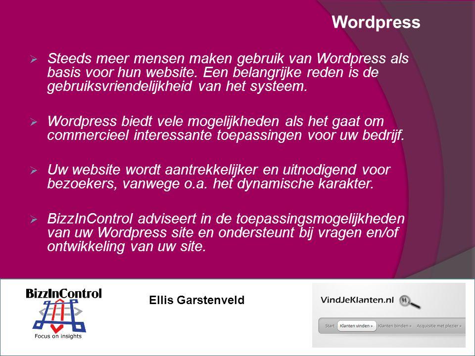 Wordpress  Steeds meer mensen maken gebruik van Wordpress als basis voor hun website.