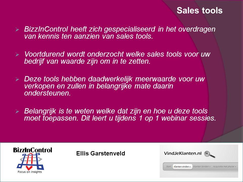 Sales tools  BizzInControl heeft zich gespecialiseerd in het overdragen van kennis ten aanzien van sales tools.