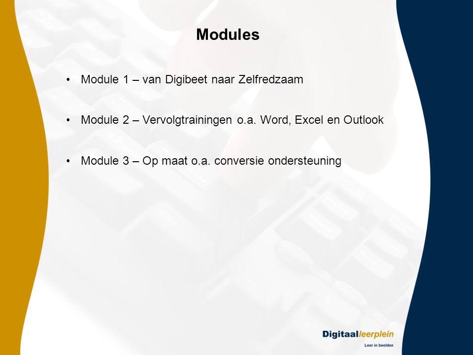 Modules •Module 1 – van Digibeet naar Zelfredzaam •Module 2 – Vervolgtrainingen o.a.
