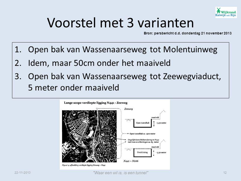 Voorstel met 3 varianten 1.Open bak van Wassenaarseweg tot Molentuinweg 2.Idem, maar 50cm onder het maaiveld 3.Open bak van Wassenaarseweg tot Zeewegviaduct, 5 meter onder maaiveld Bron: persbericht d.d.