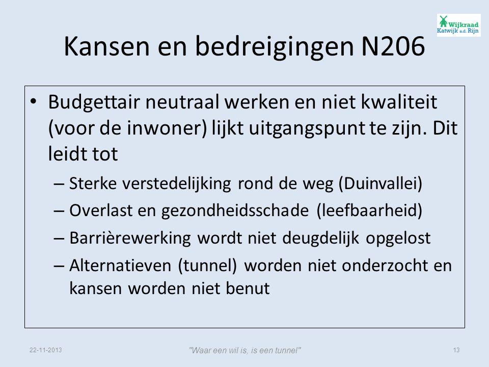 Kansen en bedreigingen N206 • Budgettair neutraal werken en niet kwaliteit (voor de inwoner) lijkt uitgangspunt te zijn.