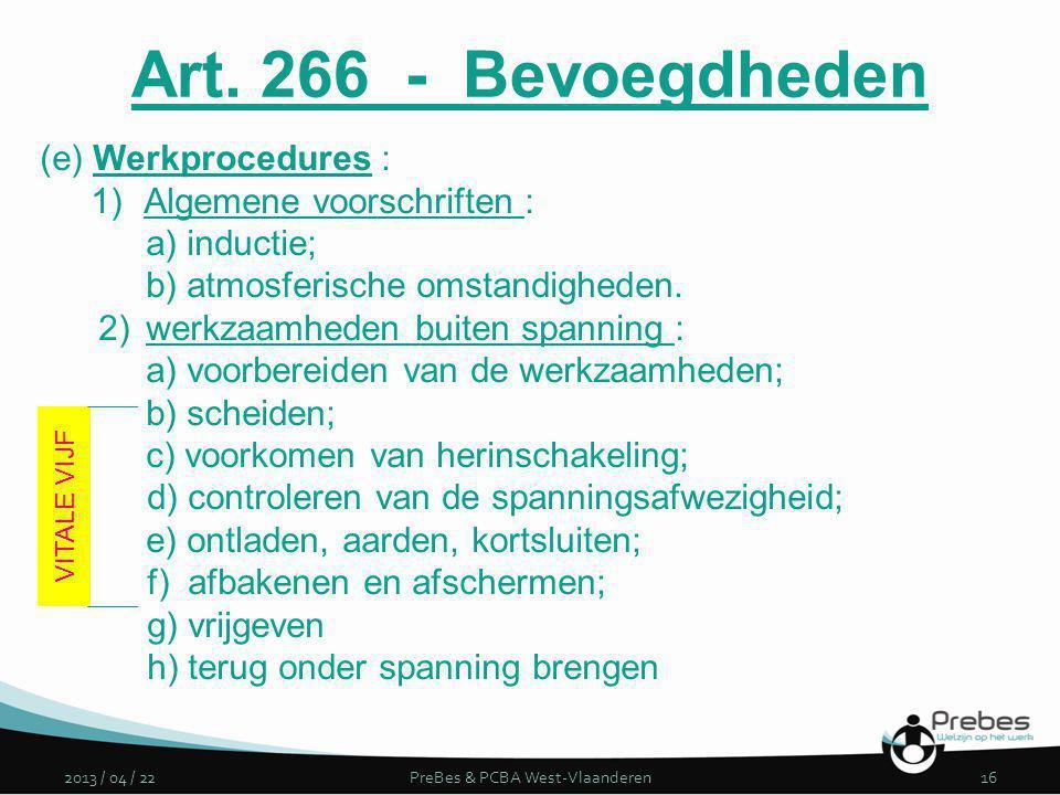 2013 / 04 / 22PreBes & PCBA West-Vlaanderen16 (e) Werkprocedures : 1)Algemene voorschriften : a) inductie; b) atmosferische omstandigheden. 2)werkzaam